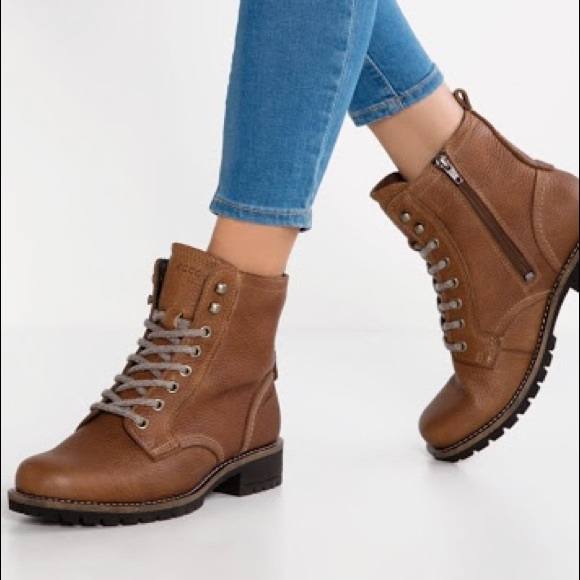 Ecco Elaine Brown Tie Up Ankle Boots